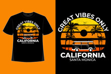 T-shirt Design Of Great Vines Only California Santa Monica Style Retro Vintage Illustration