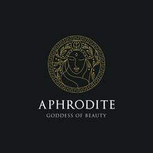 Monoline Aphrodite Greek Women Goddess Of Beauty With Decorative Circle Illustration Premium Vector