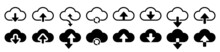 Set Cloud Download And Upload Icons. Flat Sign For Mobile And Web Design. Cloud With Arrow Up And Down Simple Outline And Filled Sign - Stock Vector