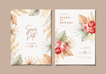 Hand Painted Watercolor Boho Wedding Invitation