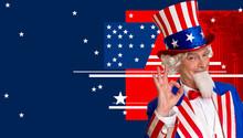 Uncle Sam Against American Flag