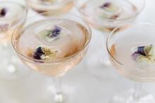 Sparkling Rose Wine With Edible Flower Garnish