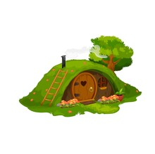 Fairytale Hobbit Or Dwarf House, Vector Home Under Green Hill. Fairy Dwelling With Round Wooden Door, Flowers Under Window And Steaming Pipe. Fantasy Gnome Cute Cartoon Building In Mound With Grass