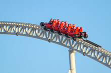 Close Up View Of A Modern Formula1 Style Roller Coaster
