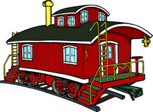 Classic Wooden Red Caboose | Train