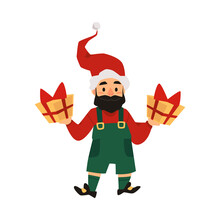 Cute Holiday Christmas Smiling Gnome In Green Shorts And Red Hat And Two Gifts In His Hands. Vector Illustration