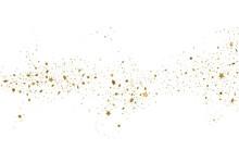 Light Gold Glitter Confetti Background. 3d Stars.