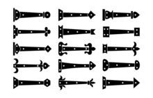 Decorative Vintage Arrow Hinges. Accents For Garage And Barn Doors, Gates, Trunks. Flat Icon Set. Vector Illustration. Signs Of Old Hardware Elements. Isolated Objects