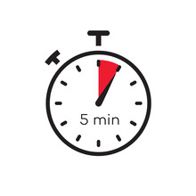 5 Minutes Timer Vector Symbol Color Style Isolated On White Background. Clock, Stopwatch, Cooking Time Label. 10 Eps