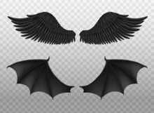 Realistic Black Wings. Pair Of Dark Feathers Raven And Bat Wings, Crow Bird Parts, Isolated Demon Elements, Fly Animals Paired Objects. Spiritual Evil Symbols Vector 3d Set