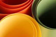 Abstract Vibrant Color Curve Background, Creative Graphic Wallpaper With Orange, Yellow And Green For Presentation, Concept Of Dynamic Movement And Space, Detail Of Bending Plastic Sheets