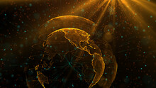 Digital Orange Planet Of Earth, 3D Animation