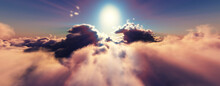 Above Clouds Fly Sunset Sun Ray