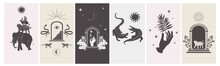 Collection Of Stories Design Template With Astrology And Mystical Elements. Editable Vector Illustration.
