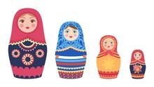 Decorative Russian Dolls. Matryoshka Dolls, Flat Tourist Souvenirs From Russia Vector Set