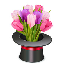 Vector Magic Hat With Flowers