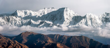 Panoramic View Of Snow Mountains Range Landscape