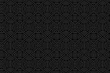 3D Volumetric Convex Embossed Geometric Black Background. Handmade Pattern. Ethnic Oriental, Asian, Indonesian Decorative Ornament, Arabesque For Design And Decoration.