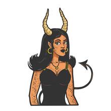 Devil Girl Red Color Sketch Engraving Vector Illustration. T-shirt Apparel Print Design. Scratch Board Imitation. Black And White Hand Drawn Image.