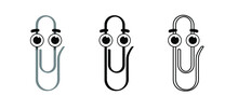 Metal Paper Clips On Transparent Background With Happy Smile Face. Cartoon Drawing Office Paperclips. Paper Clip Icon Or Pictogram. Attached, Attach Document Or File. Business Concept