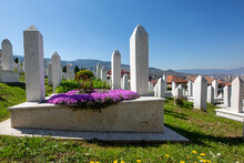 Muslim Cemetery Of Kovaci Dedicated To The Victims Of The Bosnian War, In Sarajevo, Bosnia And Herzegovina.