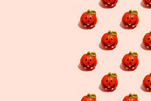 Ceramic Jack-o-lantern Candlestick On Pink. Seamless Pattern. Halloween Concept, Hard Shadow, Banner, Printshop, Flyer For Seasonal Party With Copy Space