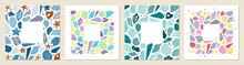 Set Of Posters With Marine Life. Abstract Illustration Of Summer Time Concept. Underwater Set Of Silhouettes. .Flat Vector Illustration. Card Templates