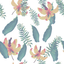 Natural Tropical Textile. Yellow Seamless Art. White Pattern Textile. Organic Floral Foliage. Green Wallpaper Exotic. Flora Botanical. Decoration Hibiscus.