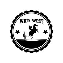 Silhouette Cowboy Riding Prancing Horse Emblem Logo Design