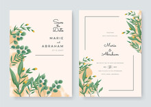 Green Yellow White And Gold Wedding Set With Hand Drawn Watercolor Background. Includes Invintation, Information, Menu And Thank You Cards Templates. Simple Elegant Luxury Wedding Background. Vector
