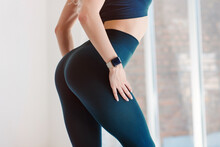 Close Up View Of Sexual Sporty Tempting Beautiful Attractive Nice Round Ass Wearing Tight Leggings