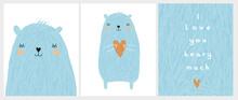 Cute Hand Drawn Vector Illustrations With Blue Bear Holding A Big Orange Heart. Sweet Infantile Style Nursery Art With Baby Bear On A White Background For Card, Wall Art, Poster, Valentine's Day.