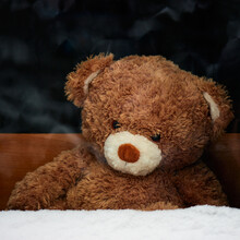 A Sad Toy Teddy Bear Is Watching What Is Happening Behind A Snow-covered Window.