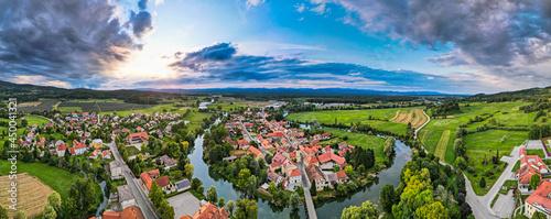 Aerial Panorama of Kostanjevica na Krki Medieval Town in Slovenia