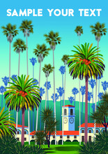 Landscape With Palm Trees, Yuccas, Houses And Mountains In The Background.  Handmade Drawing Vector Illustration.