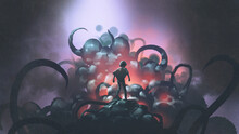 Dark Fantasy Scene Showing A Kid Standing On A Giant Monster With Blistering Skin And Tentacles, Digital Art Style, Illustration Painting