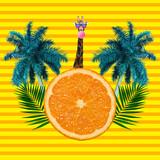 Fototapeta Kawa jest smaczna - Summer and colorful traveler symbols, mood. Copyspace to text. Modern design. Contemporary pop artwork, collage.