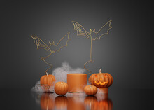 3D Halloween Background Pedestal Podium On Black, Pumpkin Display With Gold Bat And Fog. Jack O Lantern Showcase, Beauty Cosmetic, Product Promotion. Abstract Banner, Spooky Luxury 3D Render