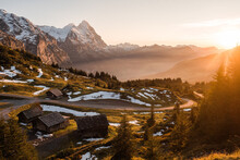 Panoramic View On Eiger At Dusk In Autumn