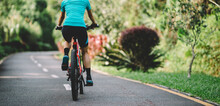 Woman Cycling On Tropical Park Trail In Summer