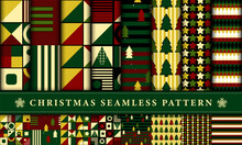 Set Of Christmas Seamless Pattern Decorated With Geometric Shapes, Striped, Stars, Trees. Retro Style Concept For Wrapping, Fabric, Wallpaper, Print, Textile. Vector Illustration.