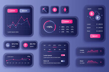 GUI Elements For Cryptocurrency Mobile App. Cryptocurrency Mining, Exchange And Stock Trading User Interface Generator. Unique Ui Ux Design Kit Vector Illustration. Navigation And Graphs Components.