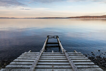 Wooden Boat Ramp Into Water