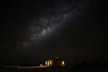 Milk Way Over Old Stone Building