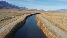 Aerial View Of The Los Angeles Aqueduct In Owens Valley California