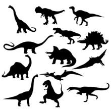 Dinosaur T Rex Stegosaurus Triceratops Pterodactyl Spinosaurus Apatosaurus Allosaurus Carnotaurus Ankylosaurus Velociraptorsilhouettes Set
