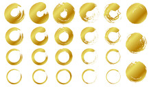 墨で書いた金色の円のベクターイラスト素材(丸,年賀状,暑中見舞い)