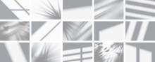 Set From 15 Shadows. Overlay Shadow From Windows, Openings And Tropical Plants. High Quality Shadows. Vector Illustration Ai And Eps File.