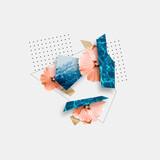 Fototapeta Kawa jest smaczna - Summer and colorful traveler symbols. Copyspace to text. Modern design. Contemporary pop artwork, collage.