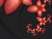 Fractal Image With Flowers On Dark Background.Template With Place For Inserting Your Text.Multicolor Flowers. Fractal Art As Background.